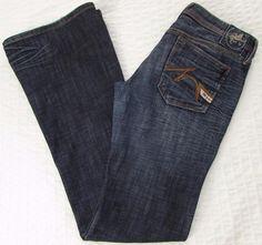 Women Parasuco Denim Legend Jeans Distressed Low Rise Wide Leg Dark Wash 29 X 35 #Parasuco #WideLeg