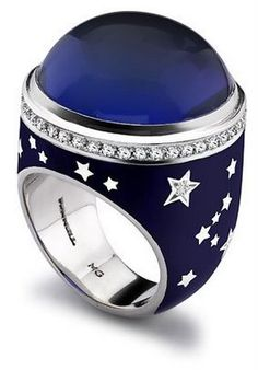~` tanzanite cabochon enamel and diamonds . theo fennell `~
