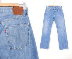 Sz 31 90s Levi's 501 Button Fly Men's Jeans - 31 x 30.5 -Vintage Capital E Distressed Boyfriend Jeans