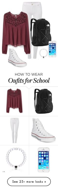 """school outfit "" by valeriaveil on Polyvore featuring Converse, 7 For All Mankind, The North Face, MANGO, women's clothing, women, female, woman, misses and juniors"
