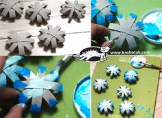 Snow flakes for coloring You need empty toilet paper rolls, scissors, glue, and paints (tempera or acrylic). One paper roll makes two snowflakes after being cut into eight pieces. Glue the stripes very well, because when you paint them they may unglue from the moisture.