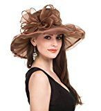 Saferin Women Kentucky Derby Church Dress Organza Hat Special Occasion Flat Cap Coffee With Bowknot Free size
