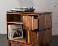 Walnut record player stand and vinyl storage cabinet featuring live edge wood slab Wood Furniture, Furniture Design, Record Player Stand, Record Players, Record Cabinet, Record Table, Record Shelf, Soft Close Drawer Slides, Design Industrial