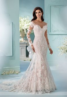 Fit and flare cage wedding dress with illusion bateau neckline and hand-beaded lace appliqué details I Style: 216239 Maisie I David Tutera for Mon Cheri I http://knot.ly/6496B2SUi