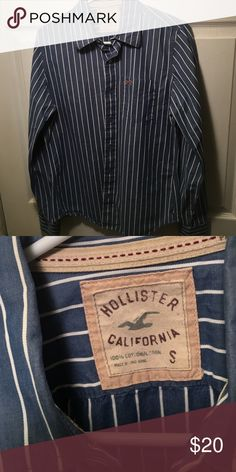 Nice Holister Button Down Blue and white striped button down shirt with collar and breast pocket. Perfect shape. No signs of wear. Hollister Shirts