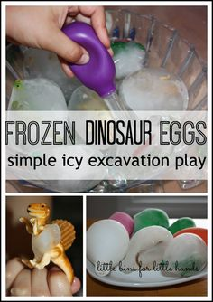 Easy to make frozen dinosaur eggs for ice melt science and sensory play. Frozen dinosaur eggs are simple to set up and provide hours of play and learning! Dinosaurs Preschool, Dinosaur Activities, Preschool Science, Sensory Activities, Learning Activities, Preschool Activities, Science Toys, Kids Learning, Sensory Bins