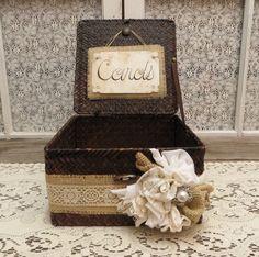Basket Wedding Card Holder Attached Lid by Thequirkycorncrib Wedding Men, Wedding Cards, Wedding Styles, Rustic Wedding, Wedding Gifts, Our Wedding, Dream Wedding, Wedding Stuff, Fantasy Wedding
