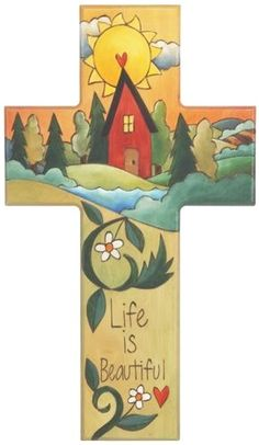 Cross Plaque – Life is Beautiful cross plaque with home on the horizon with sun motif Painted Wooden Crosses, Wood Crosses, Mosaic Crosses, Christian Artwork, Christian Crosses, Cross Art, Cross Crafts, Wood Burning Patterns, Cross Paintings