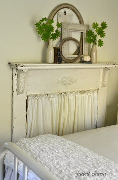 The mantel in my bedroom usually changes with the seasons. It is very narrow so I keep it simple and for Fall this year just added more . Shabby Chic Bleu, Shabby Chic Farmhouse, Shabby Chic Decor, Farmhouse Decor, Farmhouse Style, Faux Mantle, Fake Fireplace, Fireplace Fronts, Antique Fireplace Mantels