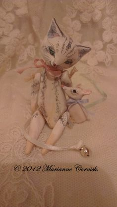 Miniature Primitive Cat and Mouse Love Art Dolls on Etsy, $95.66