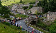 Tour de France in Yorkshire. Passing through Muker.