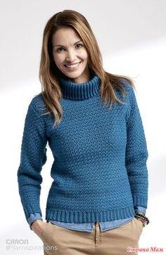 Пуловер с высоким воротом (Adult Crochet Turtleneck Pullover) (приводится описание как для мужского, так и для женского варианта).