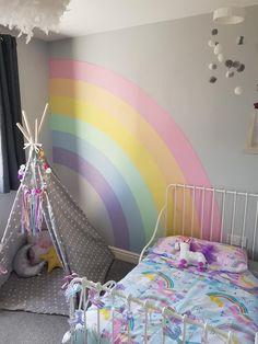 Big Girl Bedrooms, Little Girl Rooms, Girls Bedroom, Room Wall Decor, Baby Room Decor, Bedroom Decor, Bedroom Ideas, Rainbow Bedroom, Rainbow Room Kids