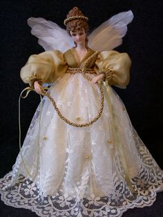 Tree Top Angel Vintage Porcelain Tree Topper by DollmakerNic Christmas Angel Decorations, Angel Christmas Tree Topper, Xmas Ornaments, Christmas Angels, Vintage Christmas, Antique Bottles, Vintage Bottles, Vintage Perfume, Antique Glass