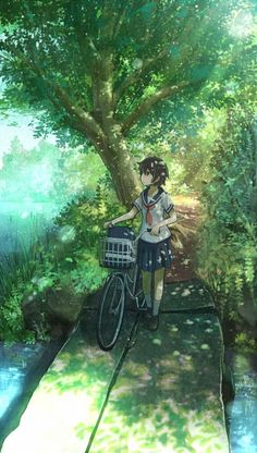 """The Art Of Animation, Anaita"" anime girl forest bike path serene nature lake tree shade cool green blue earth Manga Anime, Art Manga, Art Anime, Anime Artwork, Anime Art Girl, Anime Chibi, Manga Girl, Anime Girls, Anime Style"
