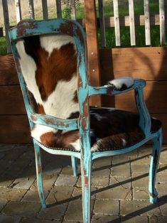 Made to Order** Western Chic Turquoise and Cowhide Victorian Chair Western Furniture, Rustic Furniture, Painted Furniture, Cabin Furniture, Cowhide Furniture, Cowhide Chair, Furniture Design, Furniture Stores, Luxury Furniture
