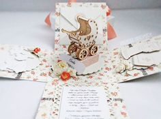 Z wózeczkiem na chrzest Exploding Boxes, Diy Cards, Christening, Stamping, Place Cards, Cricut, Scrapbooking, Place Card Holders, Baby