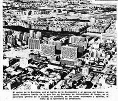 """""""El sector de la Quintana, con el barrio de la Concepción y el parque Calero, un barrio moderno nacido de lo que fue un barranco de inmundicias. Al fondo, en el panorama general de la ciudad, se advierte, en las zonas ordenadas y abiertas, la mano de la comisaría de Urbanismo"""". Foto cedida por Fernando Díaz."""