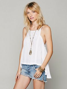 Free People Sleeveless Drapey Open Back Tank at Free People Clothing Boutique
