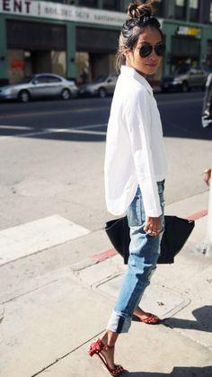 a3adfbf6cb1a Julie Sarinana at Sincerely Jules  crisp white collared shirt