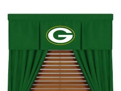 """Green Bay Packers Window Valance by Sports Coverage. $35.95. VALANCE. Coordinates with our comforters. Looks and feels like a real jersey. Screen-printed team logo. Pocket 3"""" Header 2"""" L 88 in; H 14 in. Put the finishing touches on your favorite room with the Sports Coverage valance, showcasing a team-color design with a screen-printed team logo."""