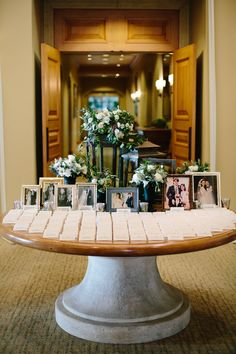 Escort card table with pictures