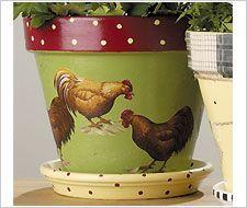 Decoupage - Rooster Flower Pots