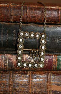 Steampunk Jewelry Necklace made from belt buckle!! How cool is that-- you can find belt buckles cheap just cut them off old belts from your local thrift store, yard sale or goodwill!!