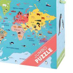 Stort og flot jumbo puslespil til de mindste, med motiv af verdenskort og dyr som lever i de enkelte lande. Puslespillet er fra Mudpuppy og indeholder 25 brikke