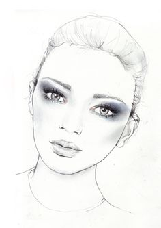 Fashion illustration - beautiful portrait, stylish fashion drawing // Sarah Hankinson