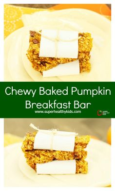 Chewy Baked Pumpkin Breakfast Bar - A simple recipe for homemade breakfast bars that the whole family will love. http://www.superhealthykids.com/chewy-baked-pumpkin-breakfast-bar/