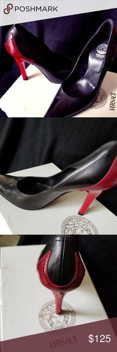 VERSACE  SHOES A BEAUTIFUL Pair of Red & Black Versace Shoes. Great for any occasion. Versace Shoes Heels