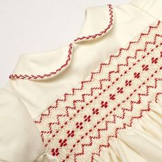 Baby traditional smocked romper - Ivory smocked in red
