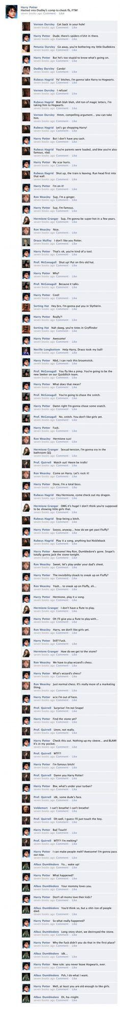"""The Entirety of """"Harry Potter and the Sorcerer's Stone"""" in one Facebook Thread"""