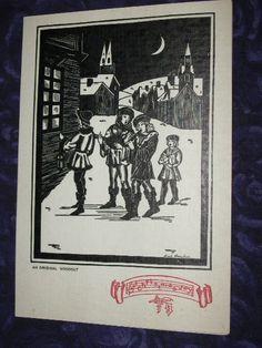 1920s Antique Christmas Card Original Woodcut Used by raesvintage, $4.99