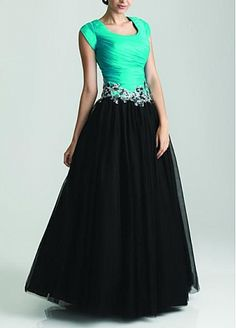 Modest Taffeta & Tulle& Satin Ball Gown Scoop Neckline Drop Waist Color Block Full Length Prom Dress