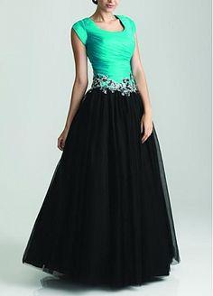 Modest Taffeta & Tulle& Satin Ball Gown Scoop Neckline Drop Waist Color Block Full Length Prom Dress