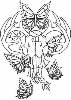Skull Coloring Pages | Deer Skull and Butterflies design (UTH3627) ... | Coloring pages or p ...
