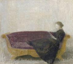 Vilhelm Hammershøi (1864-1916 Danish) • Reclining Lady on a Sofa