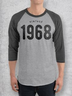 f9f0e759e 50th Birthday Gift Ideas | Vintage 1968 Baseball Tee Birthday Shirts, 50th  Birthday Gifts,