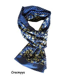 Foulard liberty capel bleu et pois : Echarpe, foulard, cravate par crocmyys