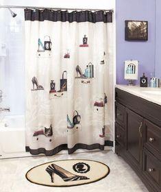 Fancy Shower Curtains, Shower Curtain Hooks, Bathroom Shower Curtains, Curtains Hooks, Bathroom Mat, Bathroom Stuff, Curtain Rods, Curtain Accessories, Bathroom Accessories