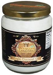 Photo of organic Gold Label Virgin Coconut Oil - 16 oz. glass jar from Tropical Traditions