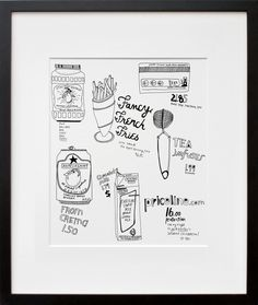 Hooks/Kate Bingaman-Burt's work is all about items she has purchased. Framed in the largest size you can.