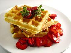 Waffles with fresh strawberries. #Waffles