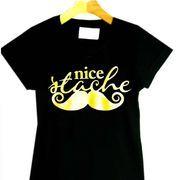 Camiseta Baby Look Mustache Dourado