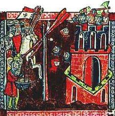Croisés catapultant des têtes des morts lors du siège de Nicée, par Guillaume de…