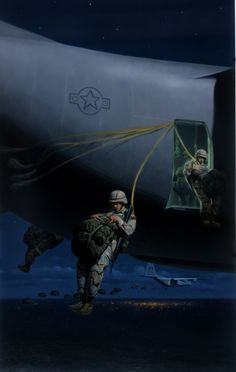 Airborne Night drop into Iraq by Larry Selman Airborne Army, Airborne Ranger, 82nd Airborne Division, Army Infantry, Military Recruiting, Military Memes, Military Art, Military History, Military Pins