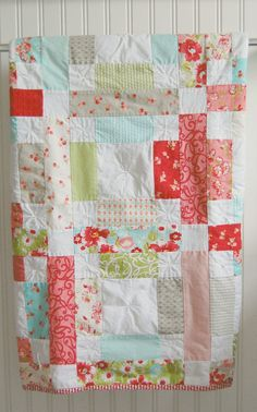 Baby Quilt  Patchwork Quilt  Baby Blanket  by HappyLittleCottage, $75.00. Love the color combination.