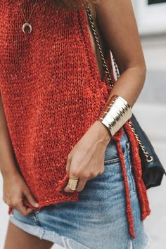 Red knit + denim.